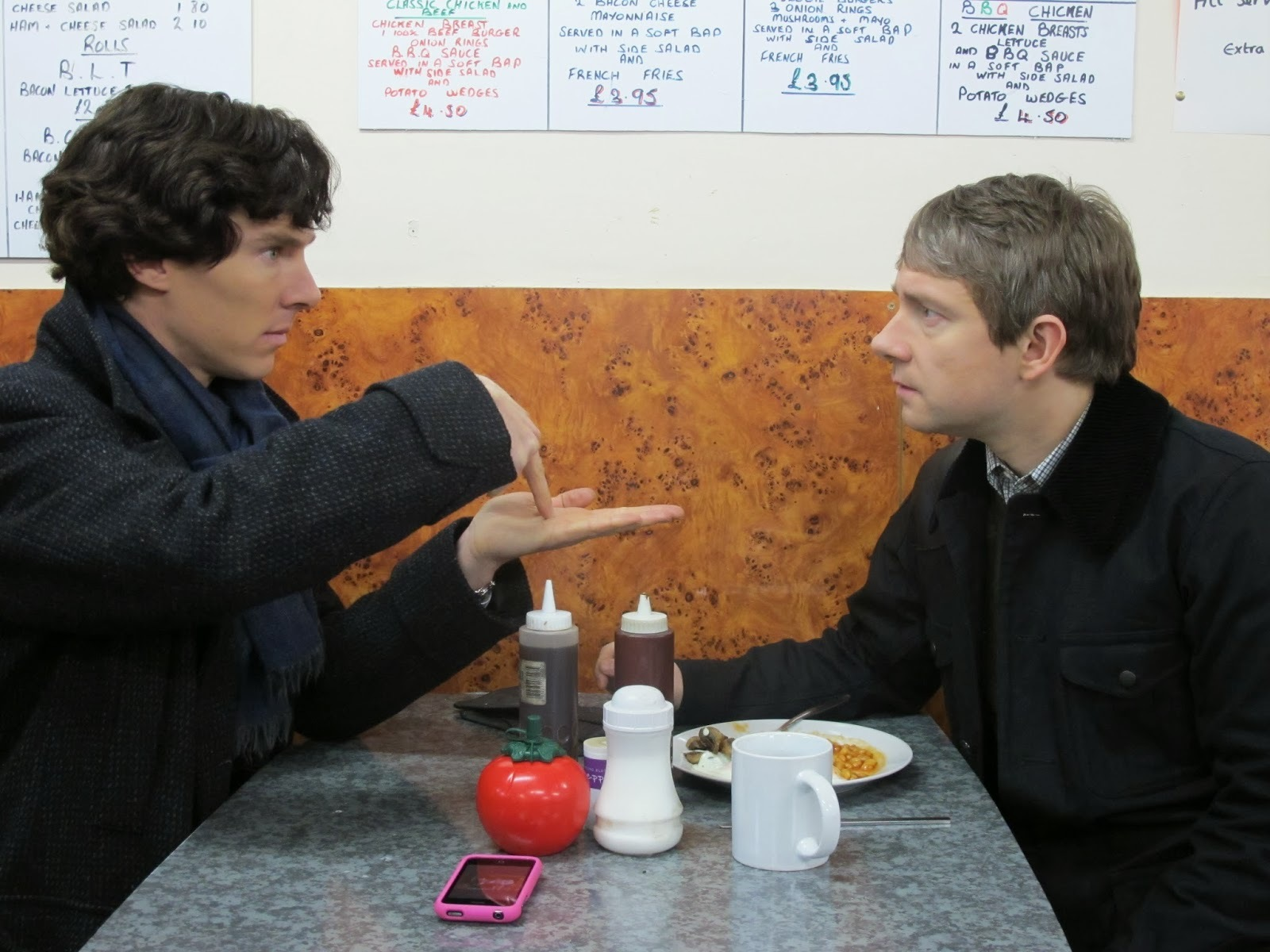 Benedict Cumberbatch and Martin Freeman as Sherlock Holmes and John Watson in BBC Sherlock Season 1 Episode 3 The Great Game