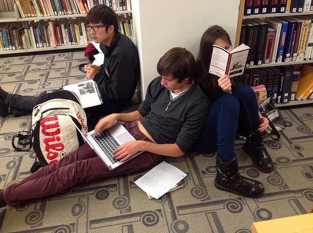 young people at Princeton Public Library after Sandy